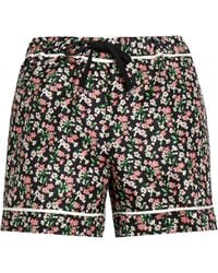 Moncler - Grosgrain-trimmed Floral-print Silk-twill Shorts - Lyst