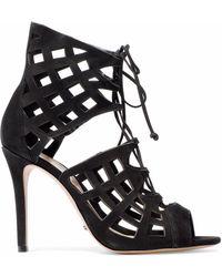 Schutz - Blake Lace-up Laser-cut Suede Sandals - Lyst