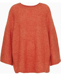 71fd143cb122 By Malene Birger - Riksos Oversized Mélange Knitted Sweater Orange - Lyst