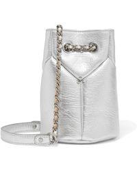 9f7a9e16fb2e Jérôme Dreyfuss - Jérôme Dreyfuss Woman Popeye Mini Metallic Textured-leather  Bucket Bag Silver -