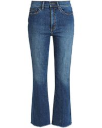 Tory Burch - Frayed Faded Mid-rise Bootcut Jeans - Lyst