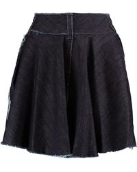 Norma Kamali | Wrap-effect Frayed Denim Mini Skirt | Lyst