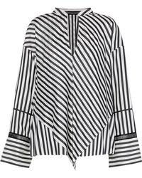 Derek Lam - Layered Open Knit-trimmed Striped Silk Crepe De Chine Blouse - Lyst