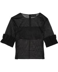 Paskal - Ruffled Bonded Stretch Crepe-trimmed Organza Top - Lyst