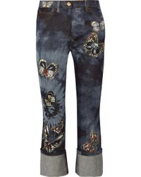Valentino - Mid-rise Cropped Appliquéd Straight-leg Jeans - Lyst