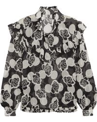 Topshop Unique - Ruffled Floral-print Silk-georgette Blouse - Lyst