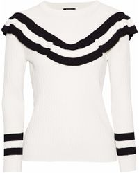 Raoul - Ruffled Striped Cable-knit Cotton-blend Sweater - Lyst