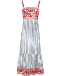 Kate Spade - Embroidered Striped Cotton-blend Midi Dress - Lyst