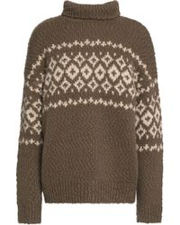 Vince - Intarsia Wool-blend Turtleneck Sweater - Lyst