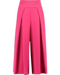 MILLY - Pleated Crepe Culottes - Lyst