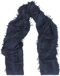 Chloé - Chloé Woman Fringe-trimmed Intarsia Wool And Silk-blend Scarf Navy - Lyst