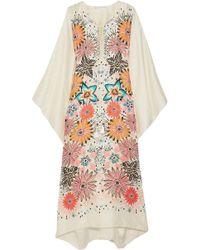 Chloé - Lace-up Floral-print Silk-jacquard Kaftan - Lyst