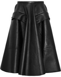 Rochas - Flared Leather Skirt - Lyst