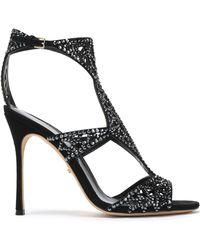 Sergio Rossi - Crystal-embellished Laser-cut Suede Sandals - Lyst