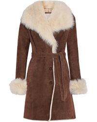 SOIA & KYO - Woman Belted Suede Shearling Coat Brown - Lyst