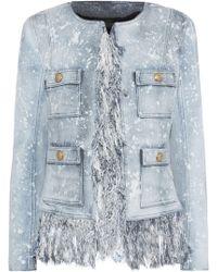 Balmain - Fringe-trimmed Bleached Denim Jacket - Lyst