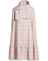 MSGM - Checked Wool And Silk-blend Cape - Lyst