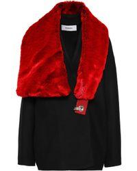 Chalayan - Faux Fur-paneled Wool-blend Coat - Lyst