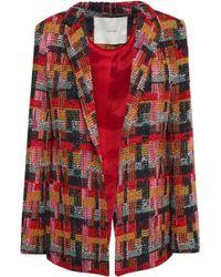 Adam Lippes - Woman Bouclé-tweed Blazer Claret - Lyst