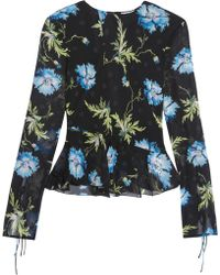 Topshop Unique - Evelyn Open-back Embellished Printed Silk-georgette Blouse - Lyst