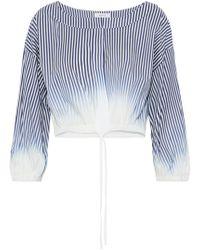 MILLY - Chrystie Striped Dégradé Cotton-blend Poplin Top - Lyst