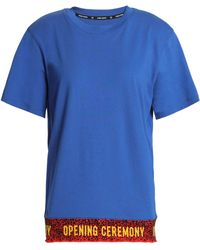 Opening Ceremony - Woman Intarsia-trimmed Cotton-jersey T-shirt Blue - Lyst