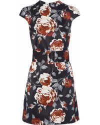 Theory - Belted Floral-print Satin-faille Mini Dress - Lyst