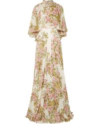 Giambattista Valli - Woman Cape-effect Floral-print Silk-chiffon Gown Off-white - Lyst