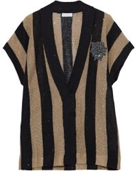 Brunello Cucinelli - Appliquéd Sequined Striped Linen And Silk-blend Cardigan - Lyst