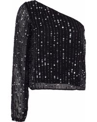 W118 by Walter Baker - Alexa One-shoulder Embellished Chiffon Top - Lyst
