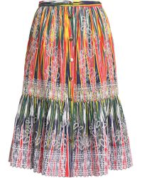 Saloni - Broderie Anglaise Printed Cotton Skirt - Lyst