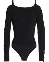 Elie Tahari - Lace-up Ribbed-knit Bodysuit - Lyst