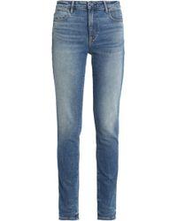 Alexander Wang - Woman Faded Mid-rise Slim-leg Jeans Mid Denim - Lyst
