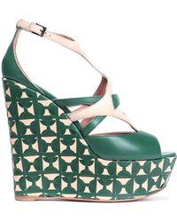 Alaïa - Alaïa Woman Two-tone Leather Wedge Sandals Dark Green - Lyst