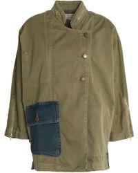 Current/Elliott - Cotton-gabardine Jacket Army Green - Lyst