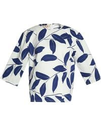 Marni - Printed Cotton And Linen-blend Top - Lyst