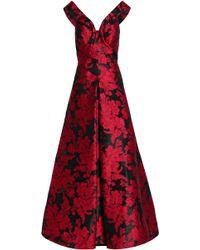 Zac Posen - Woman Flared Jacquard Gown Crimson - Lyst
