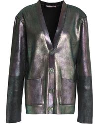 Christopher Kane - Coated Ribbed-knit Cardigan - Lyst