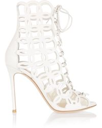 Gianvito Rossi - Cutout Leather Sandals - Lyst