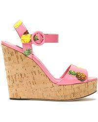 Dolce & Gabbana - Printed Patent-leather Platform Wedge Sandals - Lyst