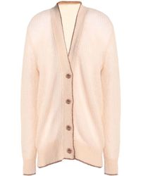 Christopher Kane - Metallic-trimmed Ribbed-knit Cardigan - Lyst