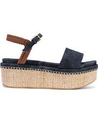 57035715044 Stuart Weitzman - Woman Braided Leather-trimmed Denim And Raffia Platform  Sandals Navy - Lyst