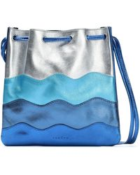 Sandro - Woman Color-block Metallic Leather Shoulder Bag Bright Blue - Lyst