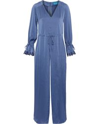 M.i.h Jeans - Woman Moon All In One Embroidered Washed-satin Jumpsuit Azure - Lyst