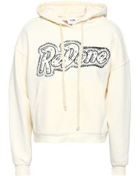 RE/DONE - Woman Studded Printed French Cotton-terry Hooded Sweatshirt Ivory - Lyst