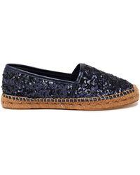 0585440dd Dolce & Gabbana - Sequined Leather Espadrilles Violet - Lyst