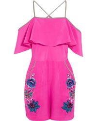 Matthew Williamson - Sakura Floral Embroidered Silk Playsuit - Lyst