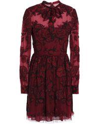 Valentino - Pussy-bow Embellished Appliquéd Tulle Mini Dress - Lyst