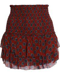 Étoile Isabel Marant - Smocked Printed Silk-georgette Mini Skirt - Lyst