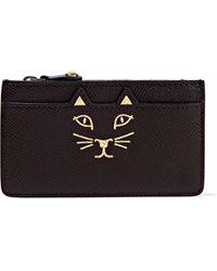 Charlotte Olympia - Feline Metallic Printed Textured-leather Cardholder - Lyst